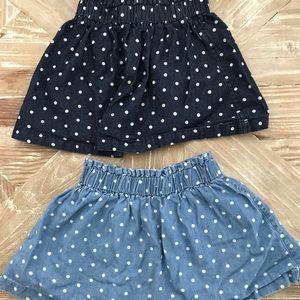 Set of 2 Polka Dot Denim Skirts